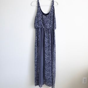 Scoop neck blue maxi dress, large, elastic waist